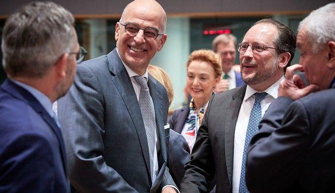 Στιγμιότυπο από τη συνεδρίαση του Συμβουλίου Εξωτερικών Υποθέσεων της Ευρωπαϊκής Ένωσης με την συμμετοχή του νέου υπουργού Εξωτερικών της Ελλάδας, Ν. Δένδια