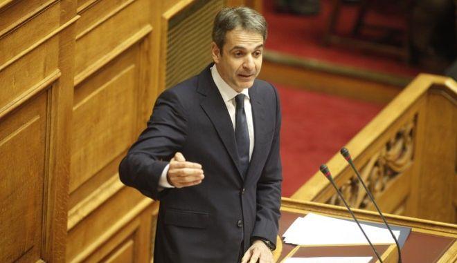 ΑΘΗΝΑ-ΒΟΥΛΗ-Προ ημερησίας διάταξης συζήτηση στη Βουλή για θέματα της Δικαιοσύνης. Την πρωτοβουλία για τη συζήτηση των πολιτικών αρχηγών είχε αναλάβει με επιστολή του προς τον πρόεδρο της Βουλής, Νίκο Βούτση, ο Πρωθυπουργός Αλέξης Τσίπρας// ΣΤΗ ΦΩΤΟΓΡΑΦΙΑ Ο ΠΡΟΕΔΡΟΣ ΝΔ ΚΥΡΙΑΚΟΣ ΜΗΤΣΟΤΑΚΗΣ.(Eurokinissi- ΚΟΝΤΑΡΙΝΗΣ ΓΙΩΡΓΟΣ)