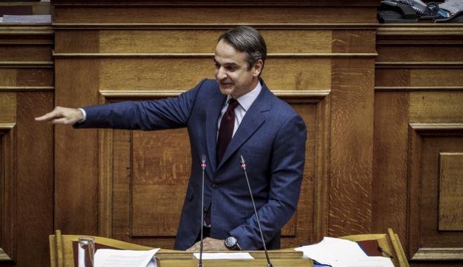 Ο πρόεδρος της ΝΔ Κυριάκος Μητσοτάκης στη Βουλή