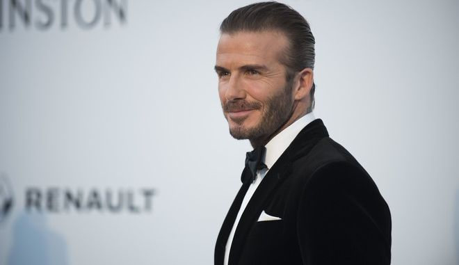 David Beckham poses for photographers upon arrival at the amfAR charity gala during the Cannes 70th international film festival, Cap d'Antibes, southern France, Thursday, May 25, 2017. (Photo by Arthur Mola/Invision/AP)