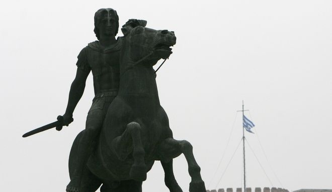The statue of the Alexander the Great in front of the white tower in the northern port city of Thessaloniki, Greece on Thursday, Nov. 1, 2007. Greek and Macedonian delegations are due to launch a new round of talks at the U.N. headquarters Thursday, in a bid to end a dispute between the two countries of the former Yugoslav republic's name. Athens argues the name could imply claims to the Greek province of Macedonia, birthplace of Alexander the Great. (AP Photo/Nikolas Giakoumidis)