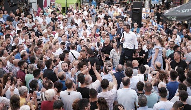 Ο πρόεδρος της ΝΔ Κυριάκος Μητσοτάκης στη Βέροια