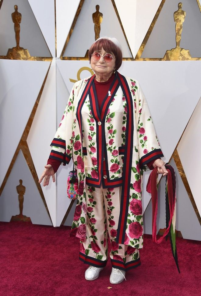 Agnes Varda arrives at the Oscars on Sunday, March 4, 2018, at the Dolby Theatre in Los Angeles. (Photo by Jordan Strauss/Invision/AP)