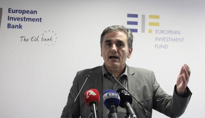 Στιγμιότυπο από τα εγκαίνια  των γραφείων της Ευρωπαικής Τράπεζας Επενδύσεων στην Ελλάδα με την παρουσία του Ευκλείδη Τσακαλώτου και του Προέδρου Ευρωπαικής Τράπεζας Επενδύσεων Βέρνερ Χόγιερ. Παρασκευή 29 Σεπτεμβρίου 2017 (EUROKINISSI//ΓΙΑΝΝΗΣ ΠΑΝΑΓΟΠΟΥΛΟΣ)