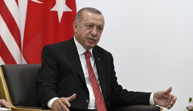 Ο Τούρκος πρόεδρος Ρετζέπ Ταγίπ Ερντογάν στη σύνοδο της G20 στην Οσάκα τον Ιούνιο του 2019