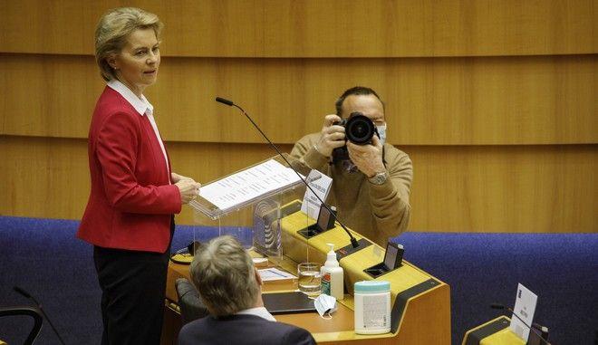 H πρόεδρος της Ευρωπαϊκής Επιτροπής, Ούρσουλα φον ντερ Λάιεν στο Ευρωπαϊκό Κοινοβούλιο
