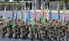 Στρατιωτική παρέλαση στην πρωτεύουσα του Αζερμπαϊτζάν για τον εορτασμό της ειρηνευτικής συμφωνίας με την Αρμενία για το Ναγκόρνο-Καραμπάχ, 10 Δεκεμβρίου 2020