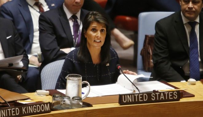FILE - In this Sept. 11, 2017, file photo, United States Ambassador to the United Nations Nikki Haley speaks after voting to adopt a new sanctions resolution against North Korea during a meeting of the U.N. Security Council at U.N. headquarters. North Korea launched an intermediate-range missile that flew over Japan in its longest-ever flight on Friday, Sept. 15, 2017, showing that leader Kim Jong Un is defiantly pushing to bolster his weapons programs despite U.S.-led international pressure. (AP Photo/Jason DeCrow. File)