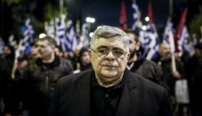 Ο γενικός γραμματέας της Χρυσής Αυγής Νίκος Μιχαλολιάκος σε συγκέντρωση του κόμματος τον Μάρτιο του 2018