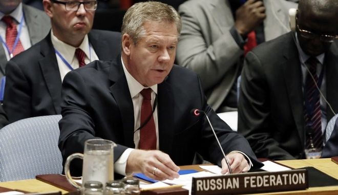 CORRECTS TITLE TO DEPUTY FOREIGN MINISTER - Russia's Deputy Foreign Minister Gennady Gatilov delivers his remarks in the Security Council at United Nations headquarters, Friday, April 28, 2017. (AP Photo/Richard Drew)