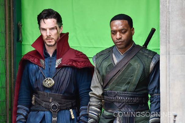 NEW YORK, NEW YORK - APRIL 02:  Actors Benedict Cumberbatch (L) and Chiwetel Ejiofor are seen filming