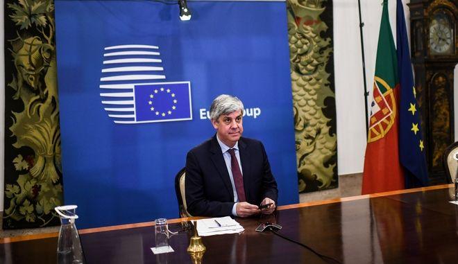 Ο Πρόεδρος του eurogroup Μάριο Σεντένο σε τηλεδιάσκεψη