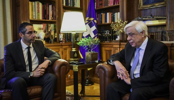 Ο ΠτΔ Προκόπης Παυλόπουλος με τον νέο Υπουργό Άμυνας της Κύπρου Σάββα Αγγελίδη (EUROKINISSI/)