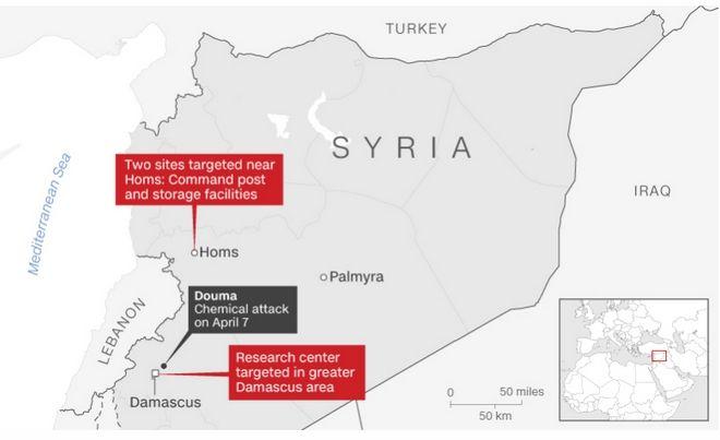 Τα σημεία που χτυπήθηκαν κατά την επίθεση στη Συρία