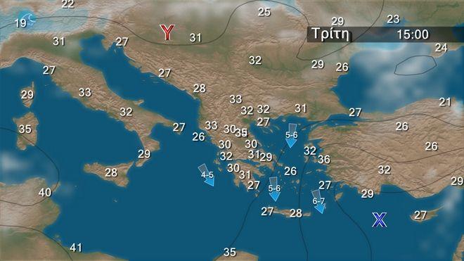 Καιρός: Κορυφώνεται το κύμα καύσωνα - Στους 42 βαθμούς το θερμόμετρο, αλλά και τοπικές καταιγίδες