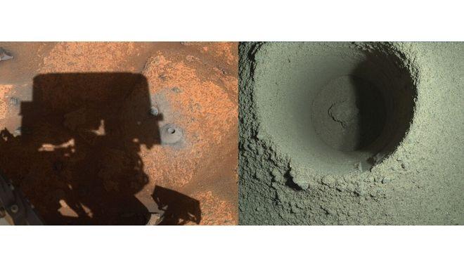 Φωτογραφίες από την πρώτη προσπάθεια συλλογής πετρώματος, τον Αύγουστο.