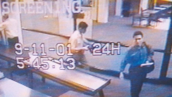 394718 01: A Surveillance Camera Photographs Two Men Identified By Authorities As Suspected Hijackers Mohammed Atta (R) And Abdulaziz Alomari (C) As They Pass Through Airport Security September 11, 2001 At Portland International Jetport In Maine. Authorities Say The Two Men Took A Commuter Flight To Boston Before Boarding American Airlines Flight 11, Which Was One Of Four Jetliners Hijacked On September 11 And One Of Two Which Were Crashed Into New York City's World Trade Center.  (Photo By U.S. Navy/Getty Images)