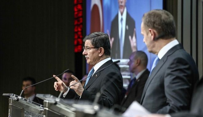 EU leaders summit with Turkey on migrants crisis on March 7, 2016 at the European Council, in Brussels. /              ,  7 , 2016,   ,