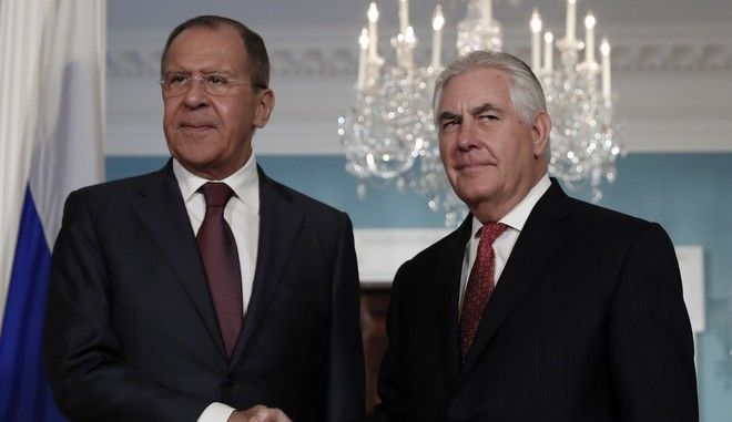 Secretary of State Rex Tillerson, right, shakes hands with Russian Foreign Minister Sergey Lavrov at the State Department in Washington, Wednesday, May 10, 2017. (AP Photo/Carolyn Kaster)