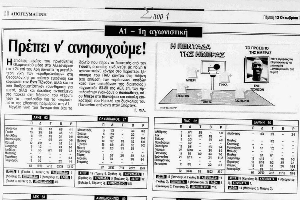 Η στατιστική (δεξιά) του τελευταίου αγώνα του Νίκου Γκάλη. Πρεμιέρα του πρωταθλήματος 1994-95, με τη νίκη επί της Δάφνης (την ίδια μέρα ο Ολυμπιακός περνούσε αέρα από το Αλεξάνδρειο), από την εφημερίδα
