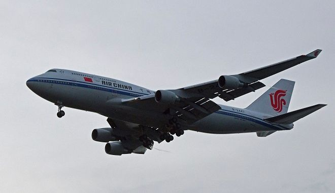A chartered Air China 747 lands in Singapore suspected to pick up North Korea leader Kim Jong Un on Tuesday, June 12, 2018, after his summit today with U.S. leader Donald Trump. (AP Photo/Joseph Nair)
