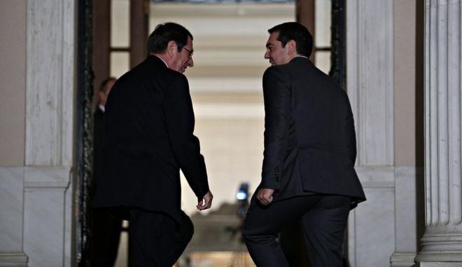 Greek Prime Minister, Alexis Tsipras, meets the Cypriot President, Nikos Anastasiadis, at Maximos Mansion in Athens, Greece on Nov. 16, 2016. /            ,     ,  ,  16 , 2016