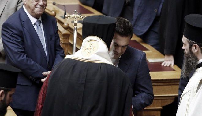 Αγιασμός για την έναρξη των εργασιών της Γ΄ Συνόδου από τον Μακαριώτατο Αρχιεπίσκοπο Αθηνών και Πάσης Ελλάδος κ. Ιερώνυμο και τα μέλη της Διαρκούς Ιεράς Συνόδου, την Δευτέρα 2 Οκτωβρίου 2017. (EUROKINISSI/ΓΙΩΡΓΟΣ ΚΟΝΤΑΡΙΝΗΣ)