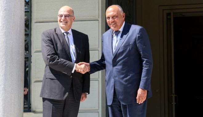 Συνάντηση του υπουργού Εξωτερικών Νίκου Δένδια με τον Αιγύπτιο υπουργό Εξωτερικών Σάμεχ Σούκρι