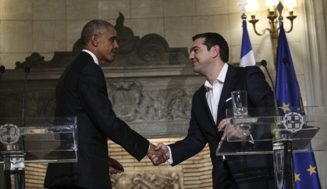 Joint Statements between the  prime minister of Greece, Alexis Tsipras and the President of the United States, Barack Obama at  Maximos Mansion, in Athens, Greece on Nov. 15, 2016. /     ,            ,  ,   ,  ,  15 , 2016