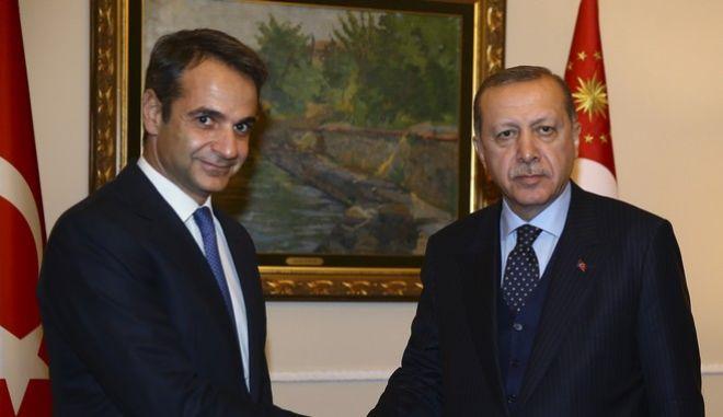 Κυριάκος Μητσοτάκης και Ρετζέπ Ταγίπ Ερντογάν (Φωτογραφία αρχείου)