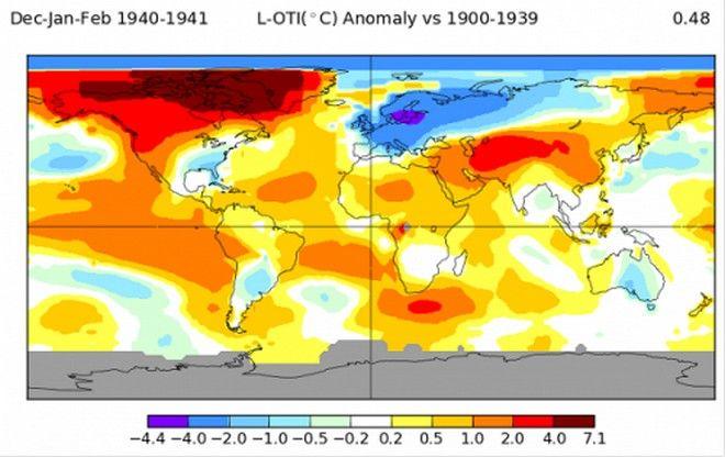 Αποκλίσεις των θερμοκρασιών από την κλιματική τιμή τον χειμώνα 1940-41