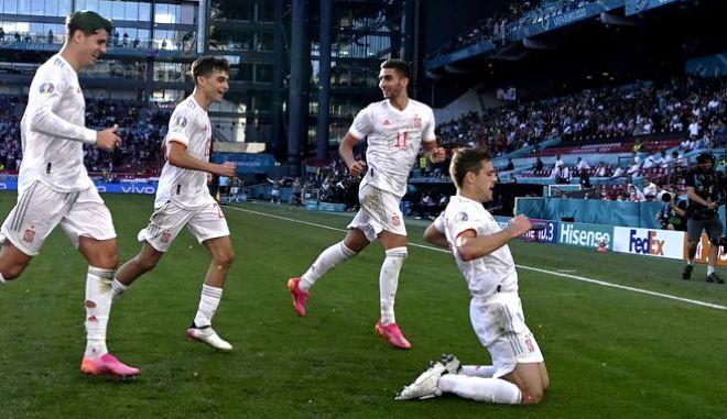 Οι παίκτες της Εθνικής Ισπανίας πανηγυρίζουν
