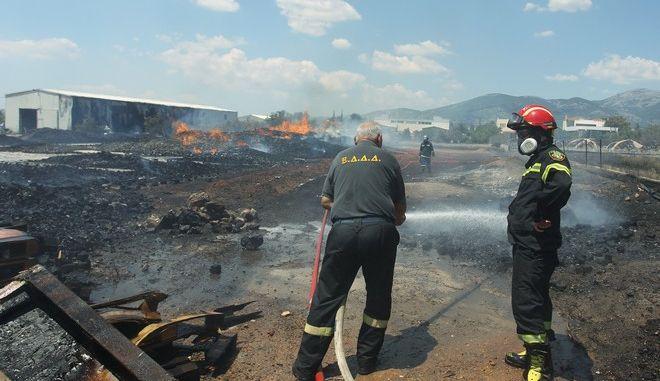 Οι πυροσβέστες στη φωτιά του Μενιδίου