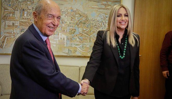 Στιγμιότυπο από την συνάντηση της Προέδρου του Κινήματος Αλλαγής Φώφης Γεννηματά με τον πρώην πρωθυπουργό Κ'ωστα Σημίτη