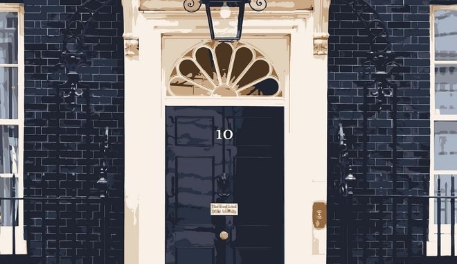 Font door number ten downing street the home of the UK Prime Minister