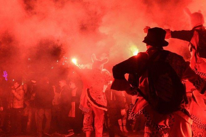 Καρναβαλιστές στους δρόμους της Πάτρας. (EUROKINISSI)