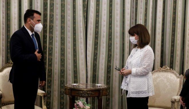 Συνάντηση της Προέδρου της Δημοκρατίας Κατερίνας Σακελλαροπούλου με τον Πρωθυπουργό της Δημοκρατίας της Βόρειας Μακεδονίας Ζόραν Ζάεφ