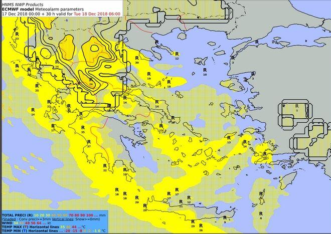 Προβλεπόμενα ύψη υετού από Τρίτη 18/00:00 έως Τρίτη 18/06:00 UTC