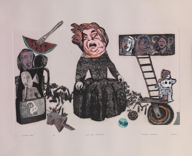 Χριστόφορος Κατσαδιώτης Δεν είναι παιχνιδότοπος, 2013 οξυγραφία, ραφή 46 x 66,5 εκ.