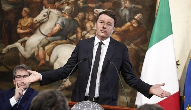 epa05247675 Italian Prime Minister Matteo Renzi speaks during the presentation of an ENEL energy company project to extend ultra wideband (UWB) communications to 224 cities at Chigi Palace in Rome, Italy, 07 April 2016. Renzi said the only risk Italy runs is that of not carrying out major public works.  EPA/GIUSEPPE LAMI