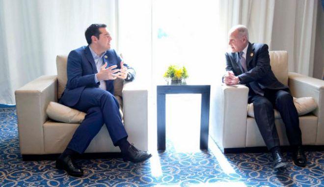 Ο Αλέξης Τσίπρας με τον Γενικό Γραμματέα του Αραβικού Συνδέσμου κ. Aboul Gheit
