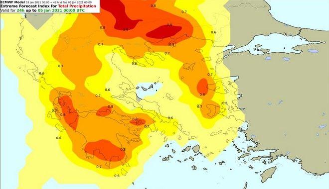 ΣΧ1 . Δείκτης επικινδυνότητας με τα 24ωρα ύψη βροχής για τη Δευτέρα