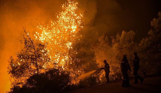 Πυροσβέστες προσπαθούν αργά το βράδυ να περιορίσουν την μεγάλη φωτιά στην Εύβοια