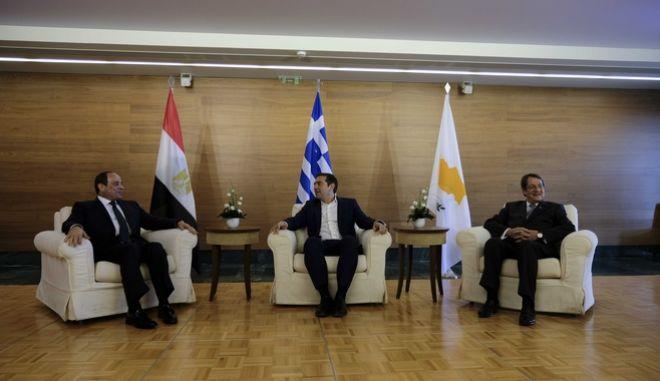 Διμερείς συναντήσεις του Πρωθυπουργού, Αλέξη Τσίπρα, με τον Πρόεδρο της Κυπριακής Δημοκρατίας, Νίκο Αναστασιάδη και τον Πρόεδρο της Αιγύπτου, Αμπντέλ Φατάχ αλ Σίσι(φωτό) στην 6η Τριμερή Σύνοδο Κορυφής Ελλάδας, Κύπρου και Αιγύπτου, στην Ελούντα της Κρήτης, την Τετάρτη 10 Οκτωβρίου 2018. (EUROKINISSI/ΓΡ. ΤΥΠΟΥ ΠΡΩΘΥΠΟΥΡΓΟΥ//ANDREA BONETTI)
