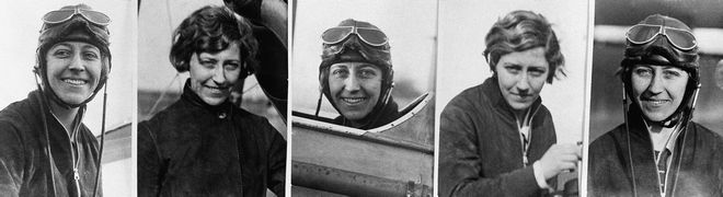 Female pilot Amy Johnson in five different poses from around 1930. (AP Photo)