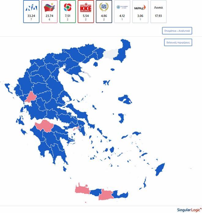 Αποτελέσματα εκλογών 2019: Πώς άλλαξε ο χάρτης σε σχέση με το 2014