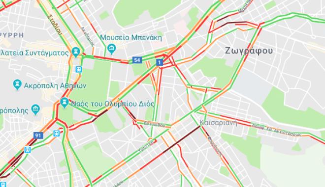 Μετ' εμποδίων η κυκλοφορία στην Αθήνα