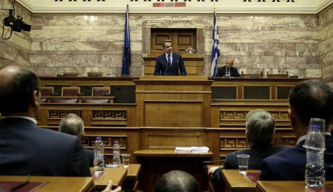 Στιγμιότυποαπό την συνεδρίαση της κοινοβουλευτικής ομάδας της Νέας Δημοκρατίας.Στην φωτογραφία ο πρόεδρος κυριάκος Μητσοτάκης κατά την διάρκεια της ομιλίας του, Τετάρτη 25 Οκτωβρίου 2017 (EUROKINISSI/Γιάννης Παναγόπουλος)