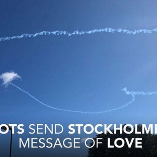 Ο ουρανός της Στοκχόλμης γέμισε με καρδιές
