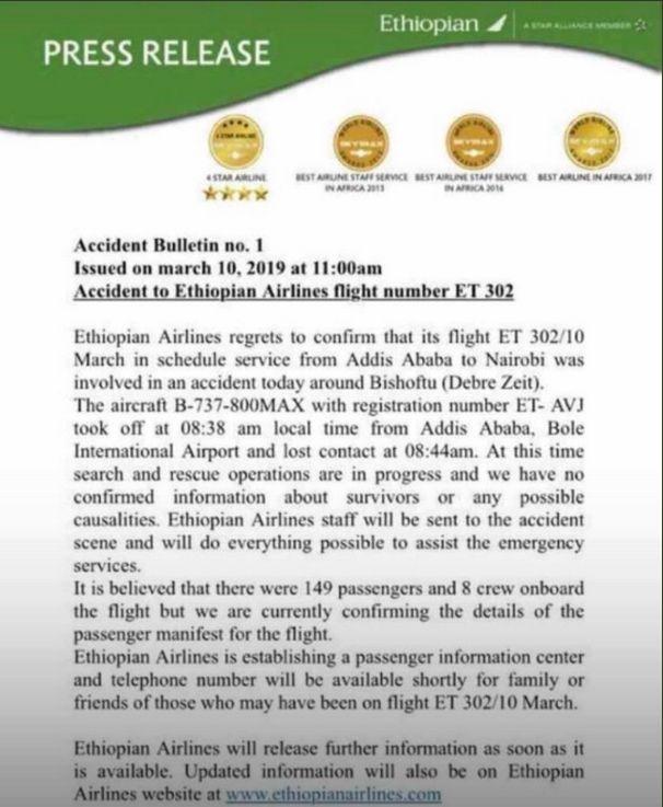 Συνετρίβη αεροσκάφος της Ethiopian Airlines με 157 επιβαίνοντες